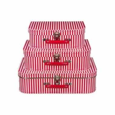 Logeerkoffer rood met strepen voor jongens 25 cm