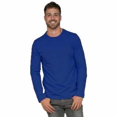 Longsleeves basic shirts blauw voor mannen
