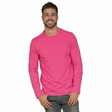 Longsleeves basic shirts fuchsia voor mannen