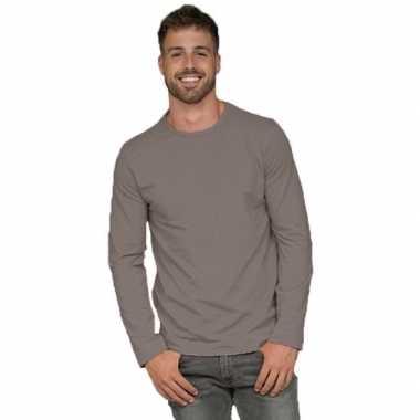 Longsleeves basic shirts grijs voor mannen