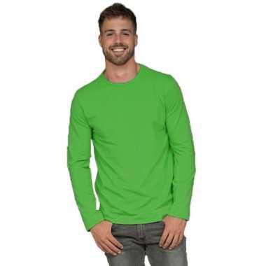 Longsleeves basic shirts limegroen voor mannen