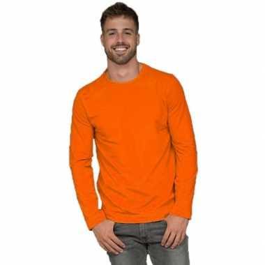 Longsleeves basic shirts oranje voor mannen