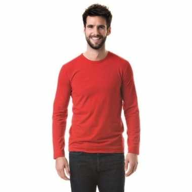 Longsleeves basic shirts rood voor mannen