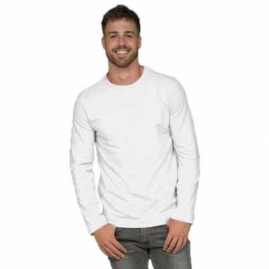 Longsleeves basic shirts wit voor mannen