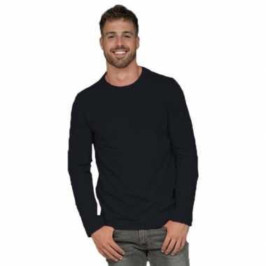 Longsleeves basic shirts zwart voor mannen