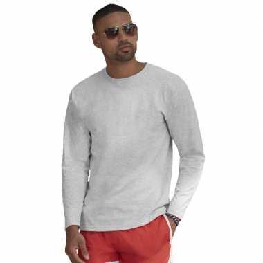 Longsleeves basic t-shirts grijs voor mannen