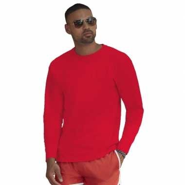 Longsleeves basic t-shirts rood voor mannen