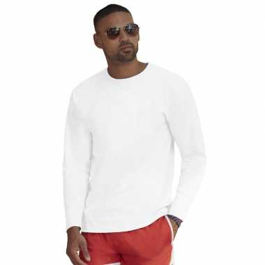 Longsleeves basic t-shirts wit voor mannen
