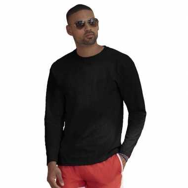 Longsleeves basic t-shirts zwart voor mannen