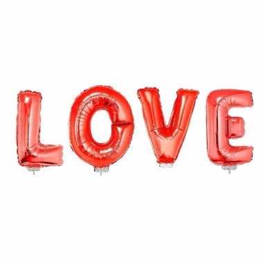 Love in opblaasletters rood inclusief stokjes