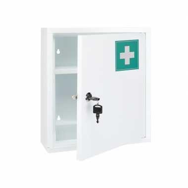 Medicijnkastje wit met slot 32 x 10 x 36 cm