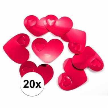 Mega confetti rode hartjes versiering 20 stuks