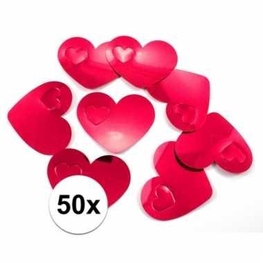 Mega confetti rode hartjes versiering 50 stuks