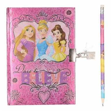 Meisjes dagboek van disney prinsessen met potlood