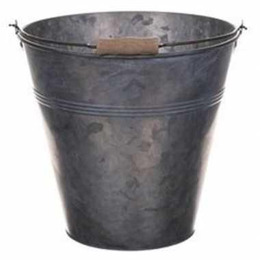 Metalen emmer grijs 13 liter