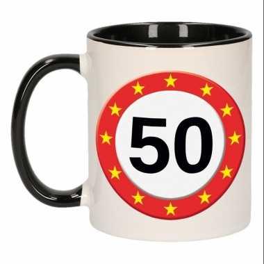 Mok/ beker 50 jaar verkeersbord sterren