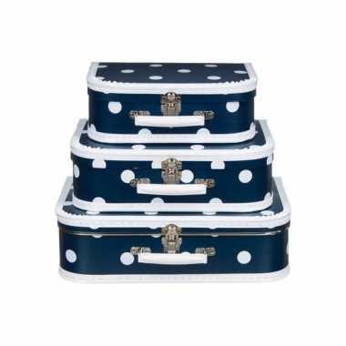 Navy koffertje met witte stip 35 cm