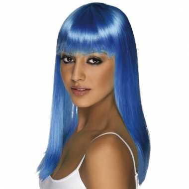 Neon blauwe dames pruik