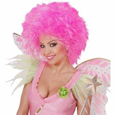 Neon roze dames pruik met kort haar