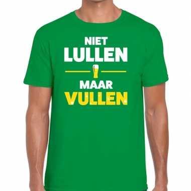 Niet lullen maar vullen tekst t-shirt groen heren