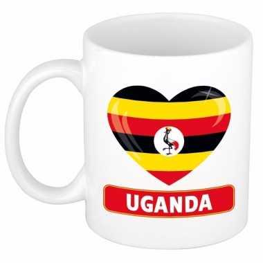 Oegandese vlag hart mok beker 300 ml