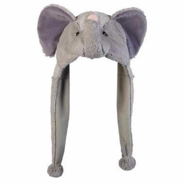 Olifanten mutsen pluche met flappen 18 cm