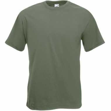 Olijf groene t-shirts met korte mouwen voor heren