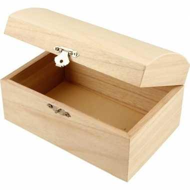 Onbedrukt juwelenkistje van hout 16 cm