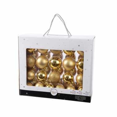 Onbreekbare kerstballen set goud 42 delig plastic