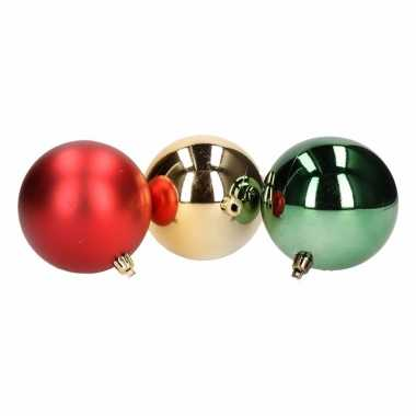 Onbreekbare kerstballen set groen/rood 10 st