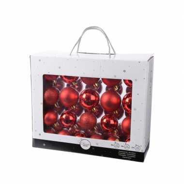 Onbreekbare kerstballen set rood 42 delig plastic