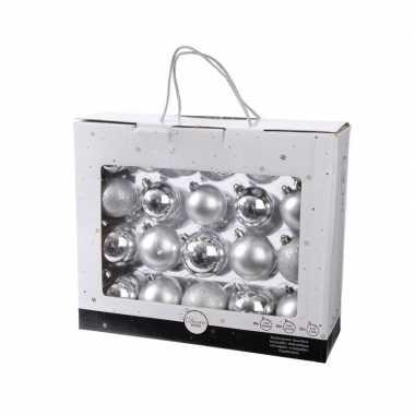 Onbreekbare kerstballen set zilver 42 delig plastic