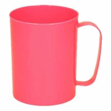 Onbreekbare neon roze koffiemok/melkbeker 400 ml melamine