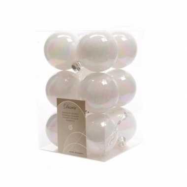 Onbreekbare witte kerstballen 12 st