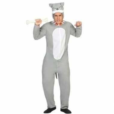 Onesie grijze pit bull hond dieren verkleedkleding voor dames/heren
