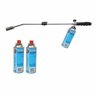 Onkruidbrander / onkruidverdelger met 3 gasflessen 76 cm