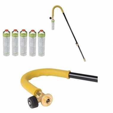 Onkruidbrander op gas incl 5 butaangas patronen 87 cm