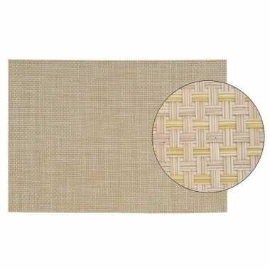 Ontbijtmatje met beige geweven print 45 x 30 cm