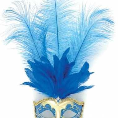 Oog masker met blauwe veren