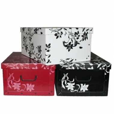 Opbergbox/opbergdoos zwart 52 x 38 cm