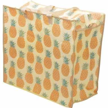 Opbergen speelgoed tas/zak met ananas print 55 x 48 cm