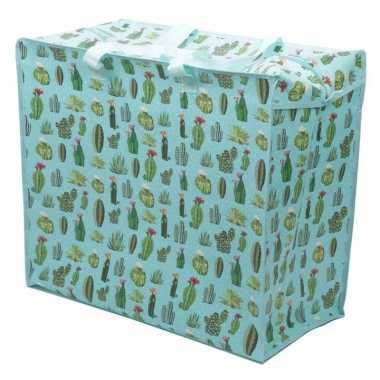 Opbergen waszak/wastas met cactus print 55 x 48 cm