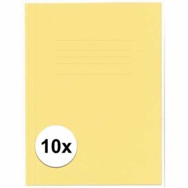 Opbergmappen folio formaat geel 10 stuks