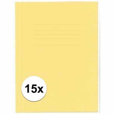 Opbergmappen folio formaat geel 15 stuks