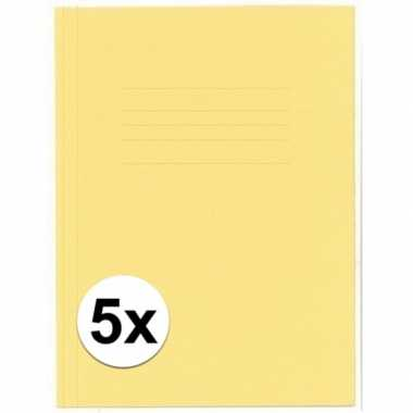 Opbergmappen folio formaat geel 5 stuks