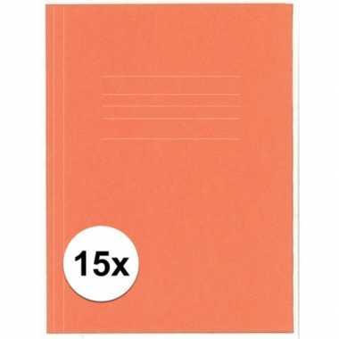Opbergmappen folio formaat oranje 15 stuks