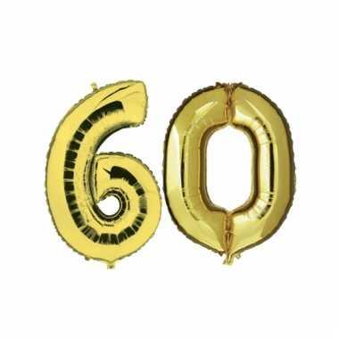 Opblaas 60 jaar ballonnen goud