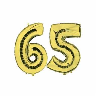 Opblaas 65 jaar ballonnen goud