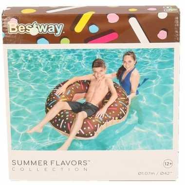 Opblaas donut chocolade 107 cm kinderen en volwassenen