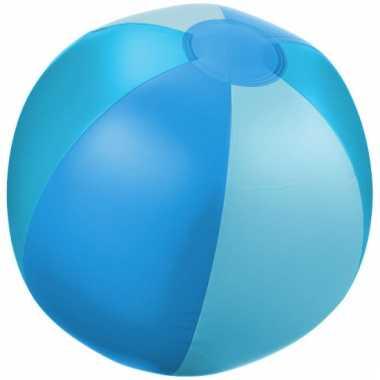 Opblaas strandbal blauw met lichtblauwe vakken